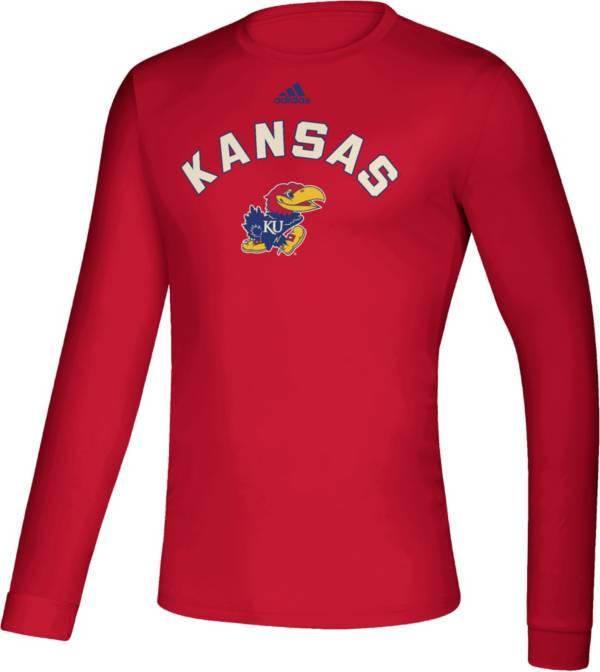 adidas Men's Kansas Jayhawks Crimson Retro Long Sleeve Basketball T-Shirt product image