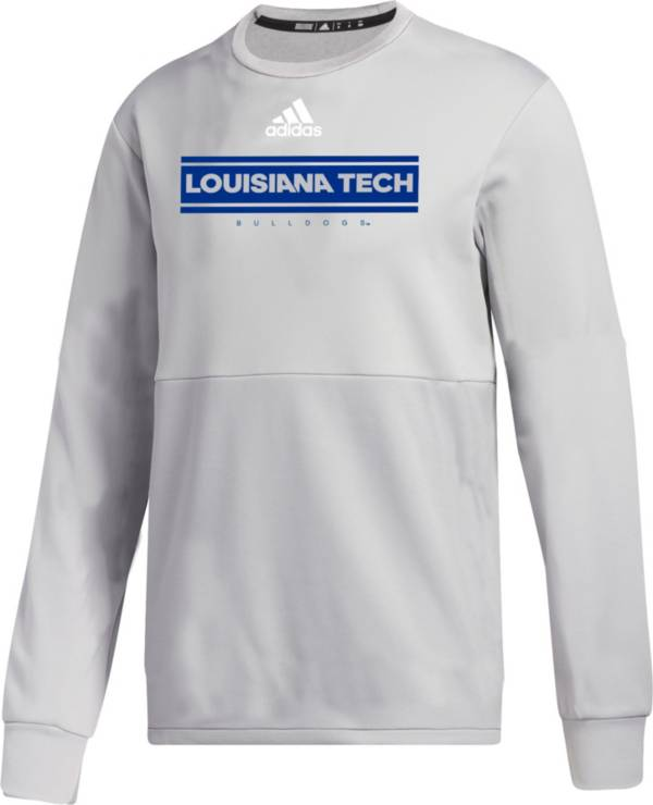 adidas Men's Louisiana Tech Bulldogs Grey  Team Issue Crew Pullover Shirt product image