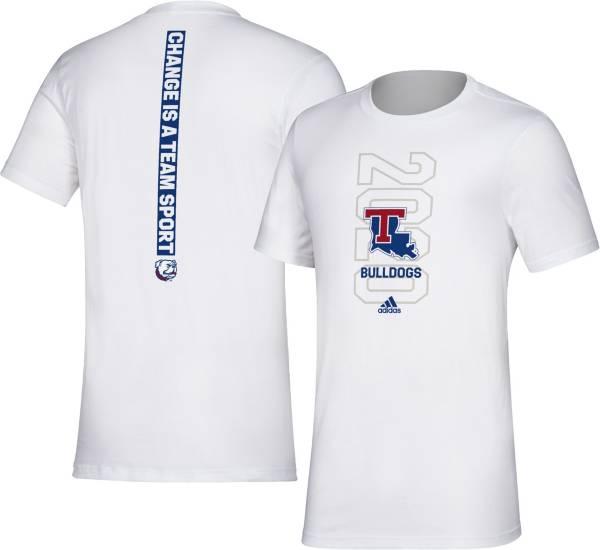 adidas Men's Louisiana Tech Bulldogs 'Change is a Team Sport' Bench White T-Shirt product image