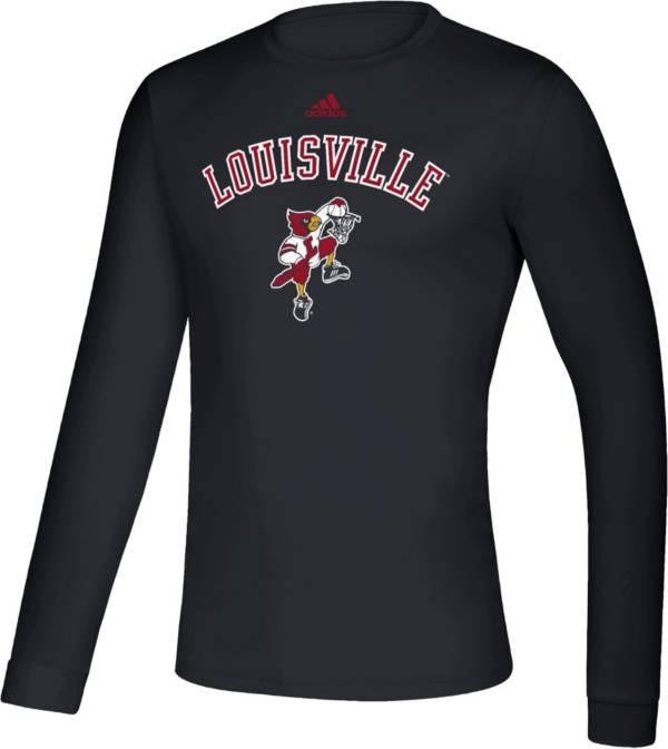 adidas Men's Louisville Cardinals Retro Long Sleeve Basketball Black T-Shirt product image