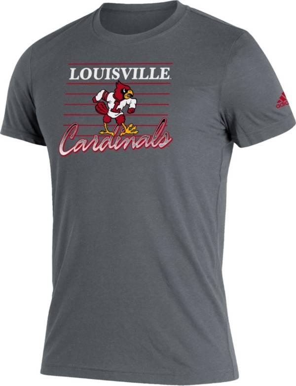 adidas Men's Louisville Cardinals Grey Script Retro Blend T-Shirt product image