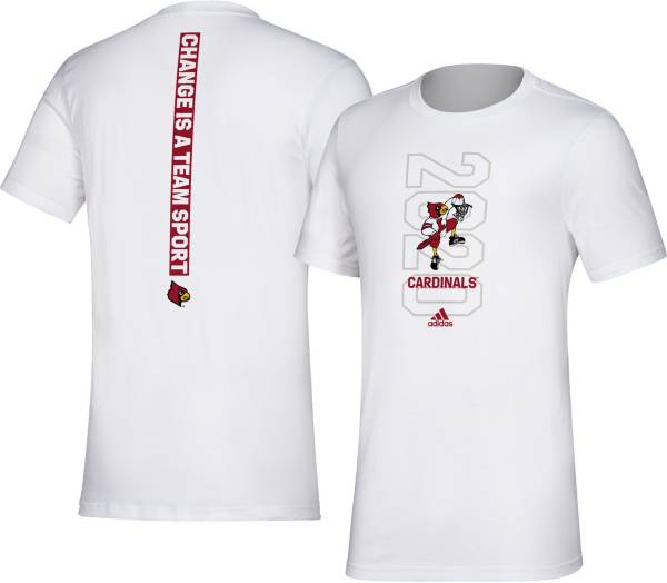 adidas Men's Louisville Cardinals 'Change is a Team Sport' Bench White T-Shirt product image
