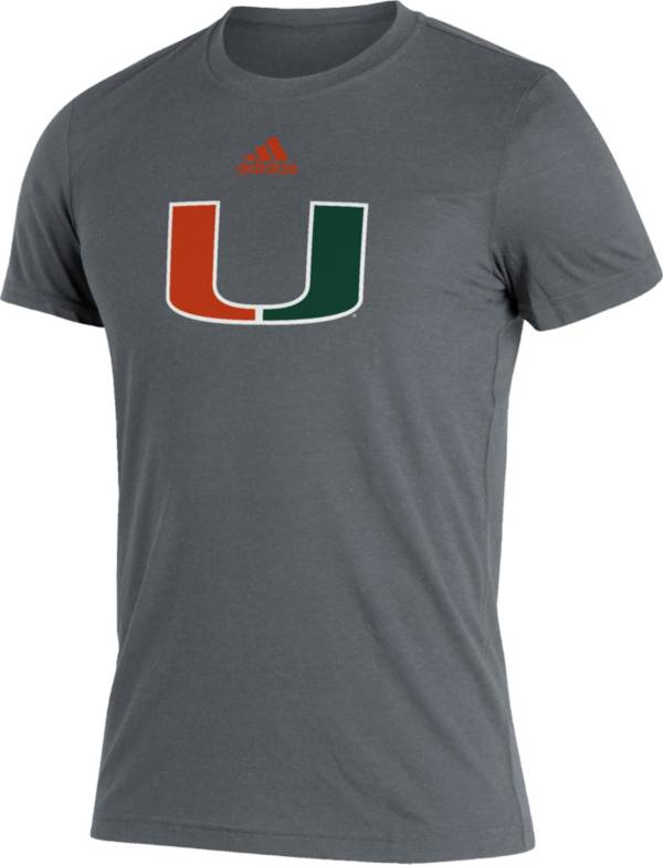 adidas Men's Miami Hurricanes Grey Logo Blend T-Shirt product image
