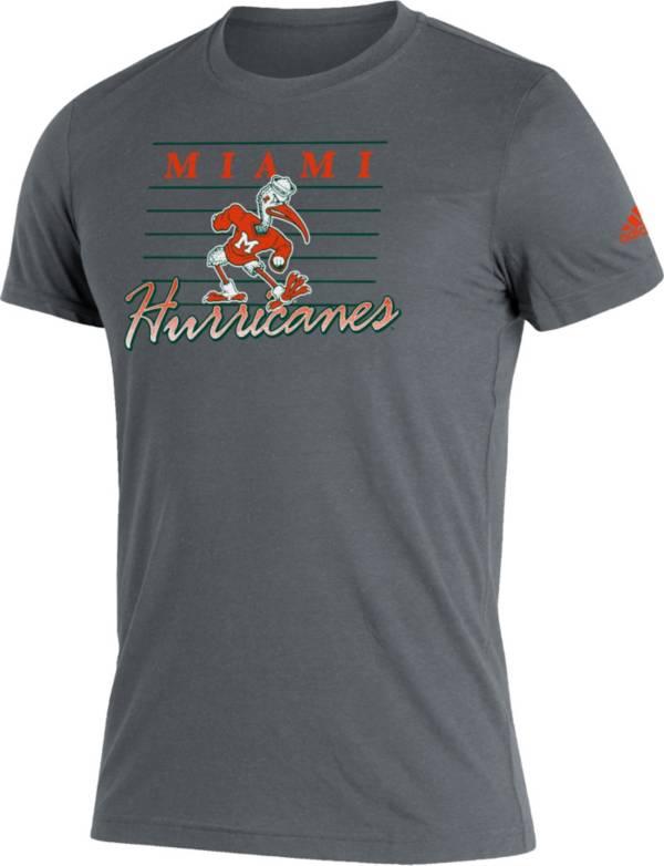 adidas Men's Miami Hurricanes Grey Script Retro Blend T-Shirt product image