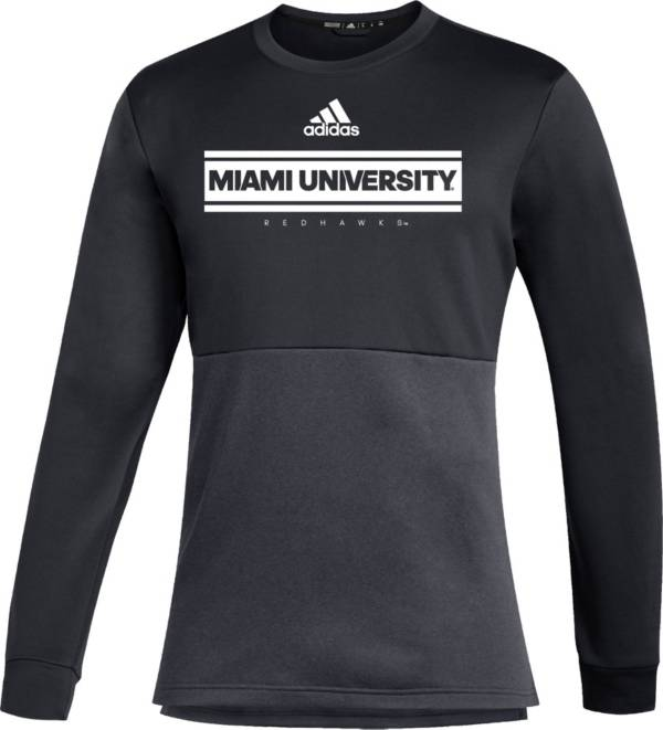 adidas Men's Miami RedHawks Team Issue Crew Pullover Black Shirt product image