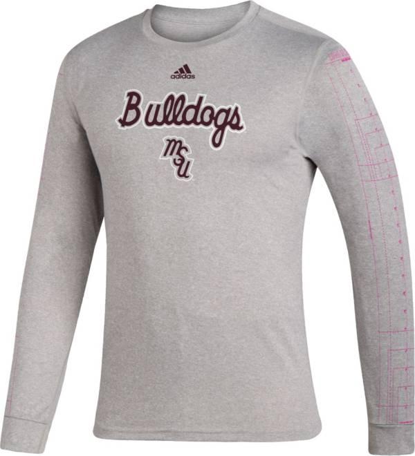 adidas Men's Mississippi State Bulldogs Grey Retro Long Sleeve Basketball T-Shirt product image