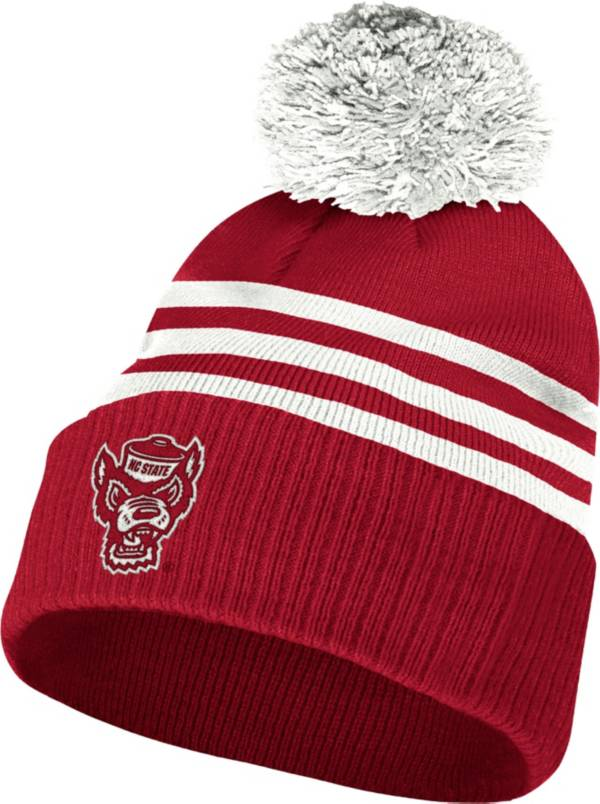 adidas Men's NC State Wolfpack Red 3-Stripe Cuffed Pom Knit Beanie product image
