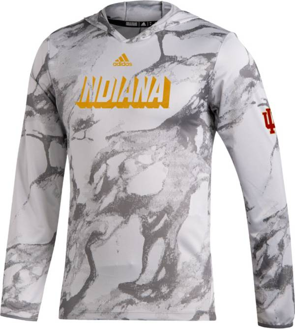 adidas Men's Indiana Hoosiers White Long Sleeve Hooded Performance T-Shirt product image