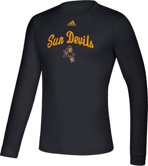 adidas Men's Arizona State Sun Devils Retro Long Sleeve Basketball Black T-Shirt product image