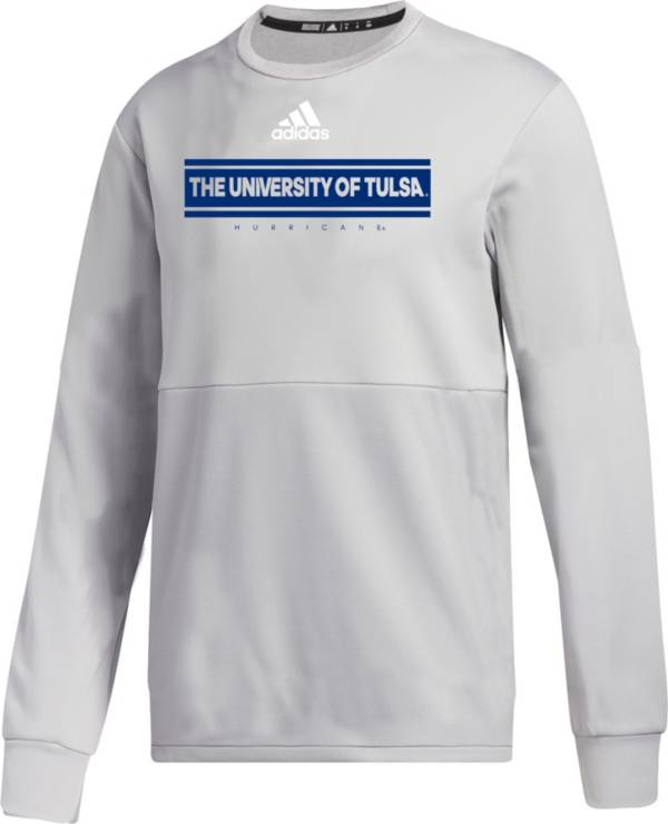 adidas Men's Tulsa Golden Hurricane Grey  Team Issue Crew Pullover Shirt product image