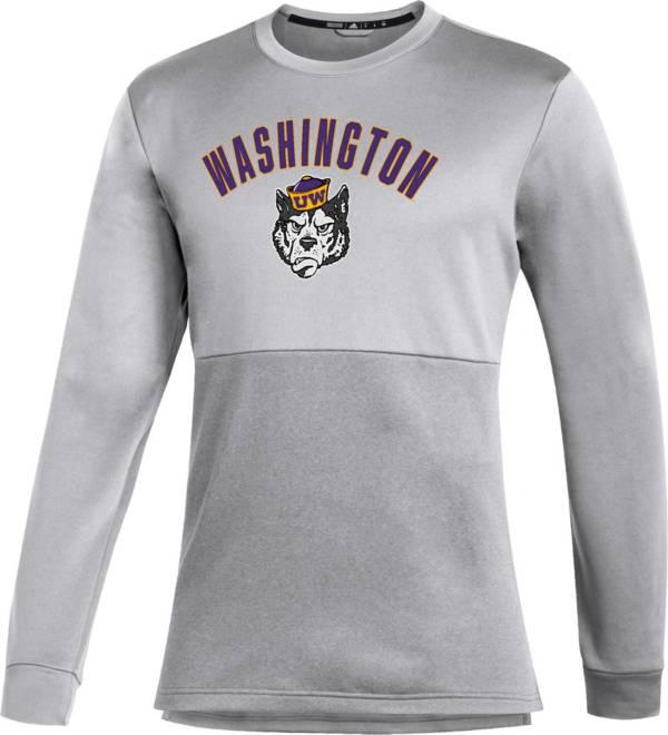 adidas Men's Washington Huskies Grey Letterman Long Sleeve T-Shirt product image