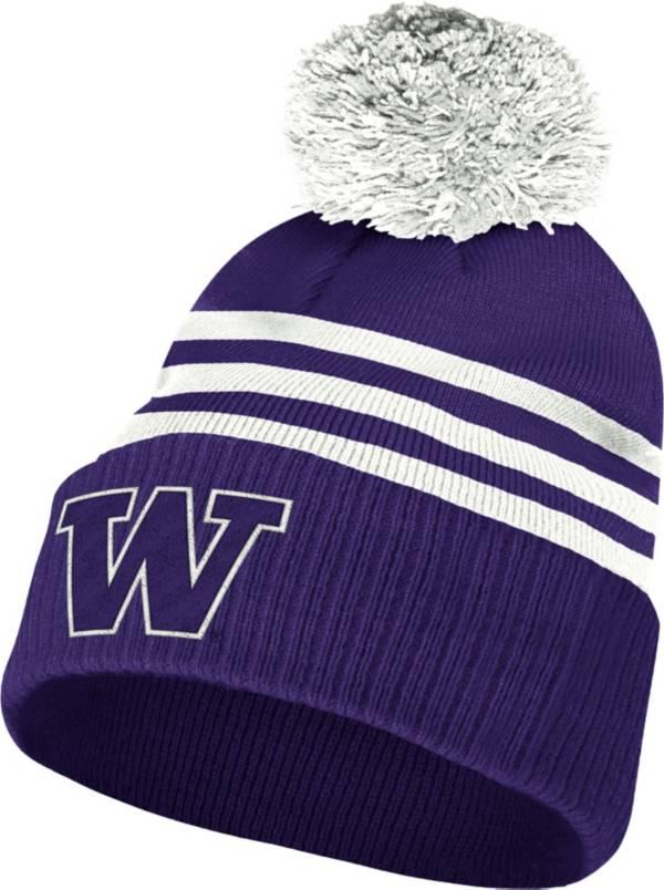 adidas Men's Washington Huskies Purple 3-Stripe Cuffed Pom Knit Beanie product image