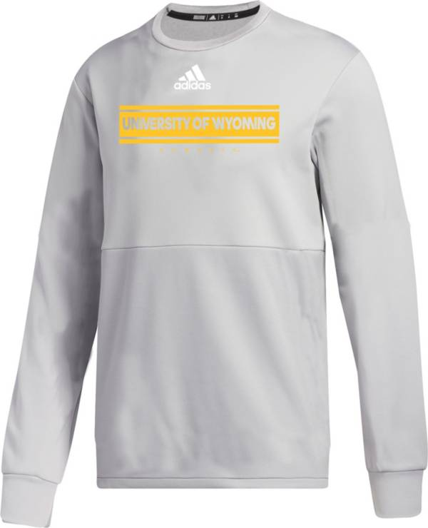 adidas Men's Wyoming Cowboys Grey  Team Issue Crew Pullover Shirt product image