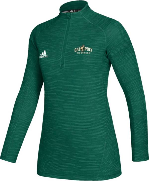adidas Women's Cal Poly Mustangs Green Game Mode Sideline Quarter-Zip Shirt product image