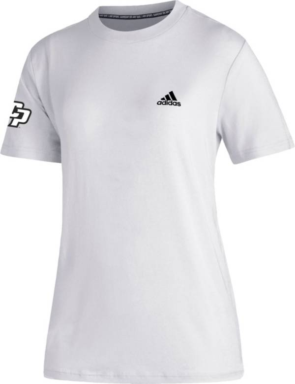 adidas Women's Cal Poly Mustangs Must-Have 3-Stripe White T-Shirt product image