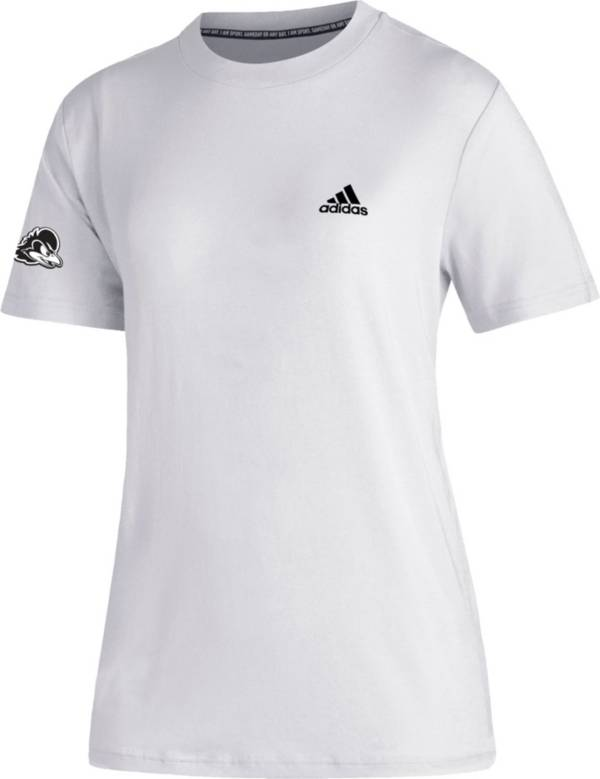 adidas Women's Delaware Fightin' Blue Hens Must-Have 3-Stripe White T-Shirt product image