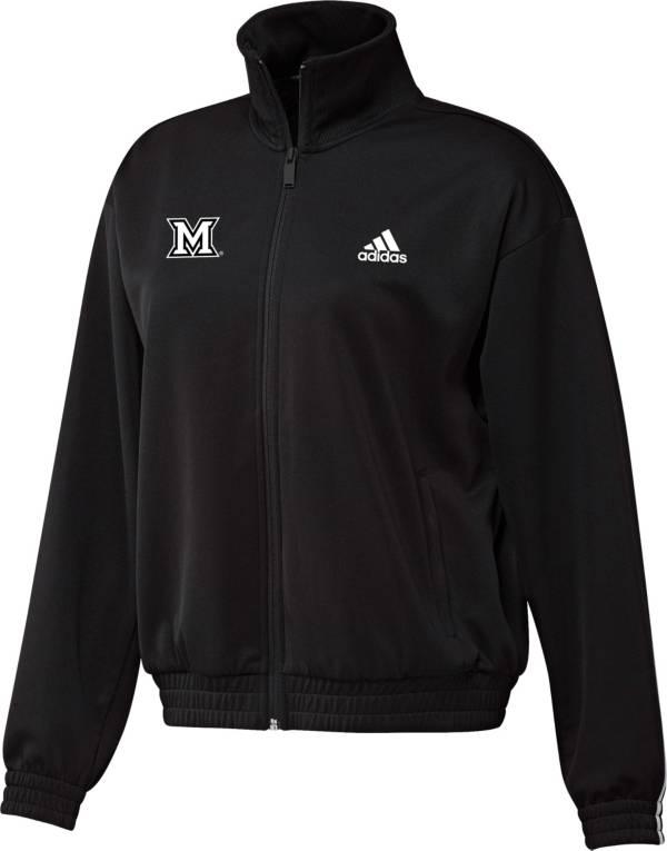 adidas Women's Miami RedHawks Snap Full-Zip Bomber Black Jacket product image