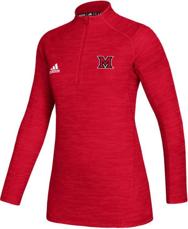 adidas Women's Miami RedHawks Red Game Mode Sideline Quarter-Zip Shirt product image