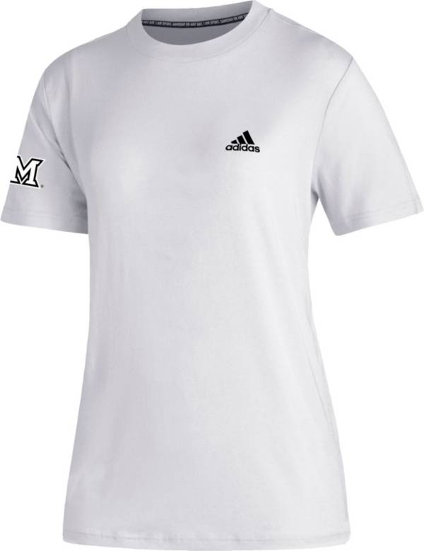 adidas Women's Miami RedHawks Must-Have 3-Stripe White T-Shirt product image