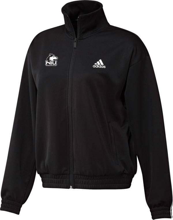 adidas Women's Northern Illinois Huskies Snap Full-Zip Bomber Black Jacket product image