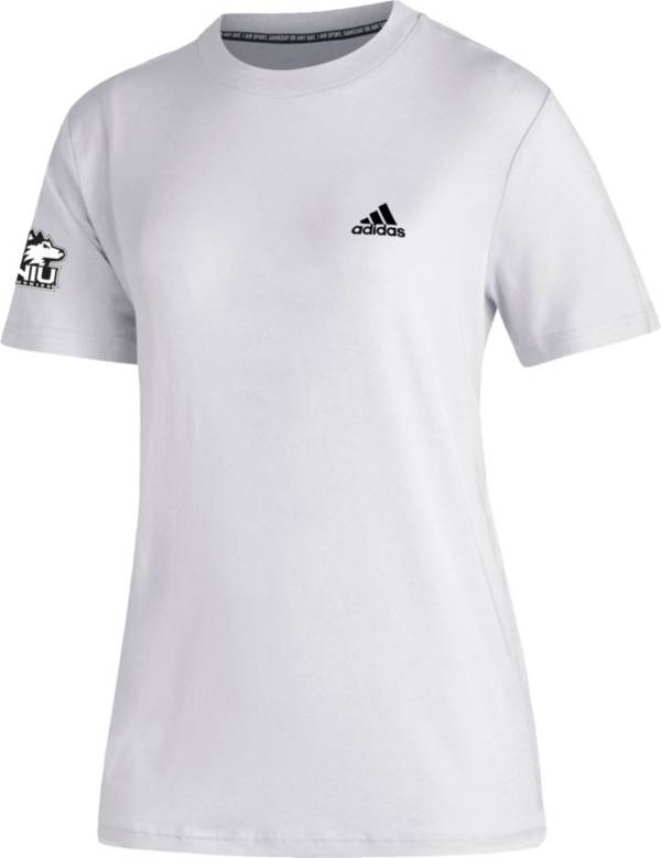 adidas Women's Northern Illinois Huskies Must-Have 3-Stripe White T-Shirt product image