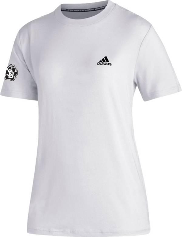 adidas Women's South Dakota State Jackrabbits Must-Have 3-Stripe White T-Shirt product image