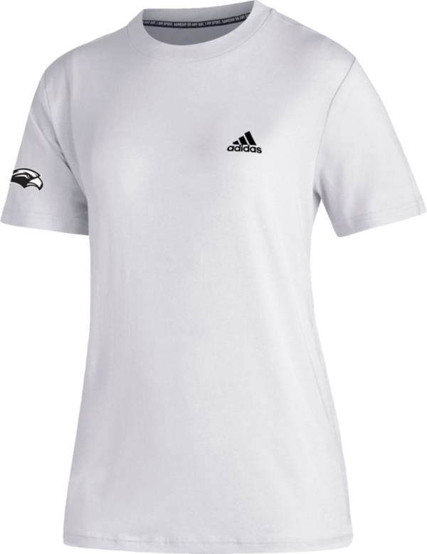 adidas Women's Southern Miss Golden Eagles Must-Have 3-Stripe White T-Shirt product image