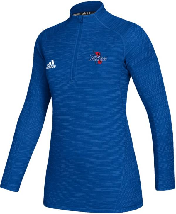 adidas Women's Tulsa Golden Hurricane Blue Game Mode Sideline Quarter-Zip Shirt product image