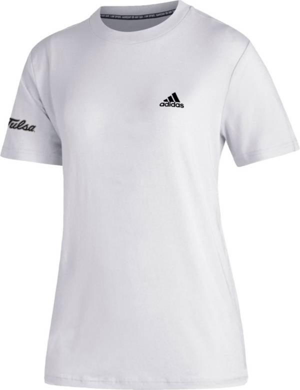 adidas Women's Tulsa Golden Hurricane Must-Have 3-Stripe White T-Shirt product image