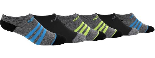 adidas Youth 3-Stripe No Show Socks - 6 Pack product image