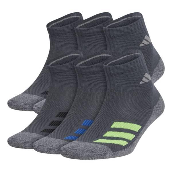 adidas Youth Cushioned Angle Stripe Quarter Socks – 6 Pack product image