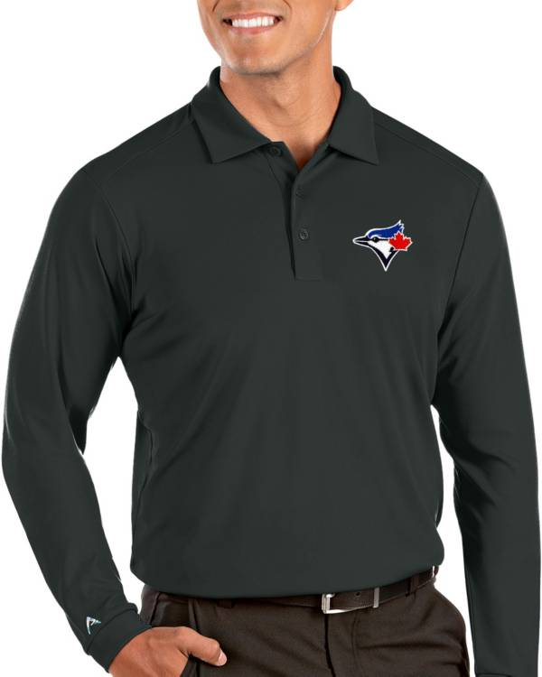Antigua Men's Toronto Blue Jays Grey Tribute Long Sleeve Performance Polo product image