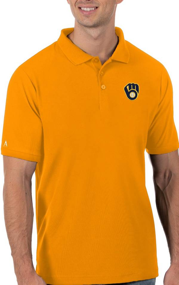 Antigua Men's Milwaukee Brewers Gold Legacy Polo product image
