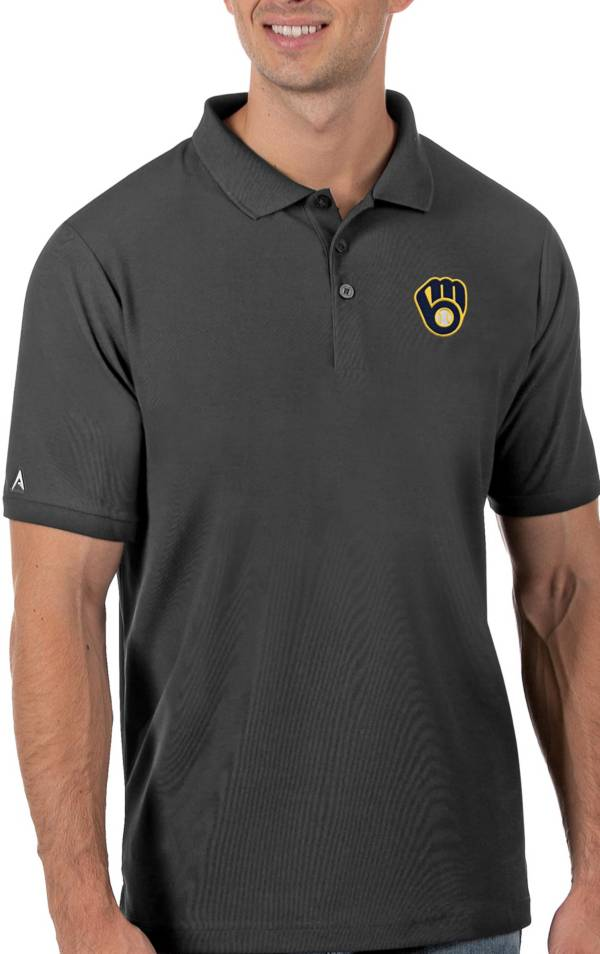 Antigua Men's Milwaukee Brewers Gray Legacy Polo product image