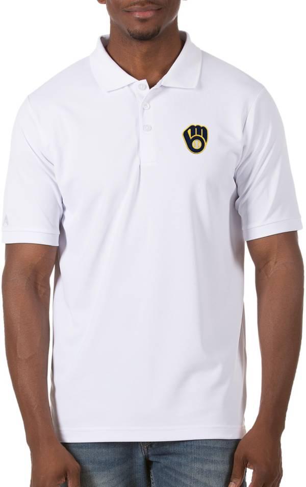 Antigua Men's Milwaukee Brewers White Legacy Polo product image