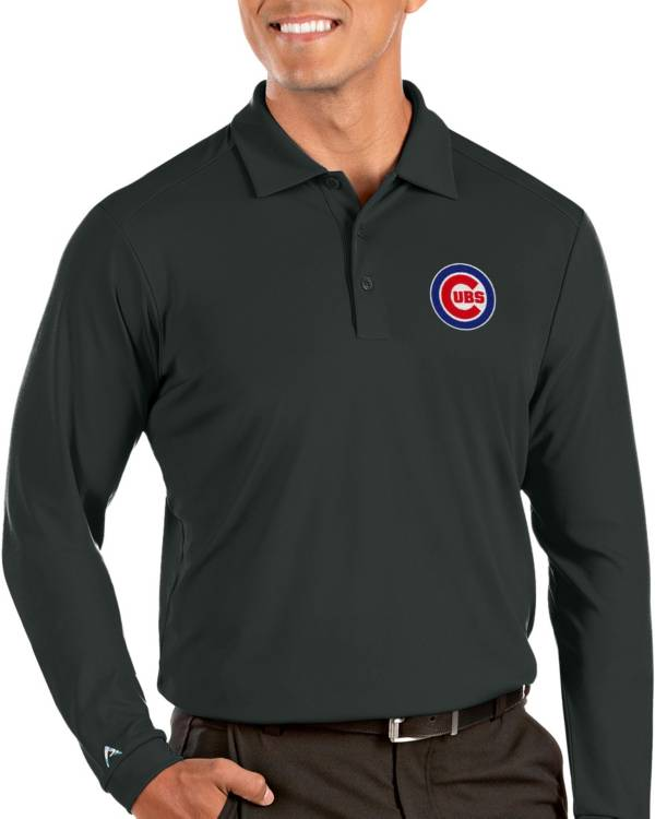 Antigua Men's Chicago Cubs Grey Tribute Long Sleeve Performance Polo product image