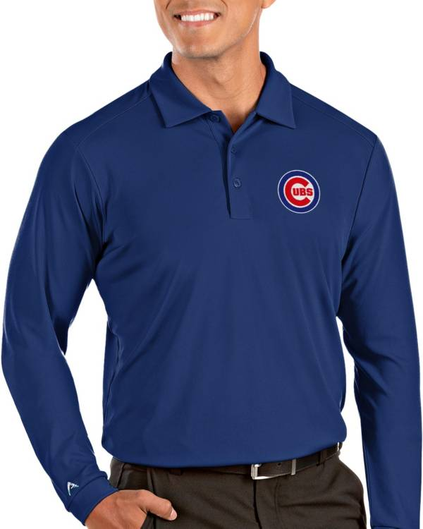 Antigua Men's Chicago Cubs Blue Tribute Long Sleeve Performance Polo product image