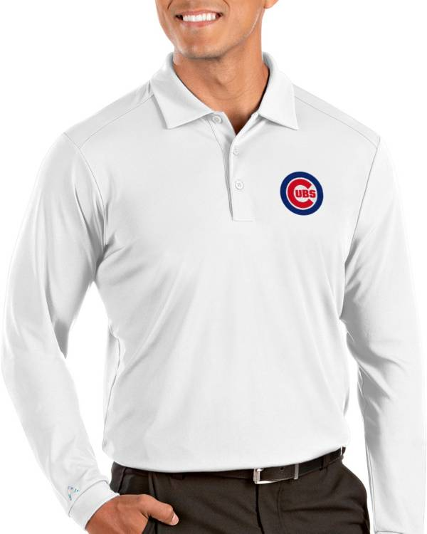 Antigua Men's Chicago Cubs Tribute Long Sleeve Performance White Polo product image