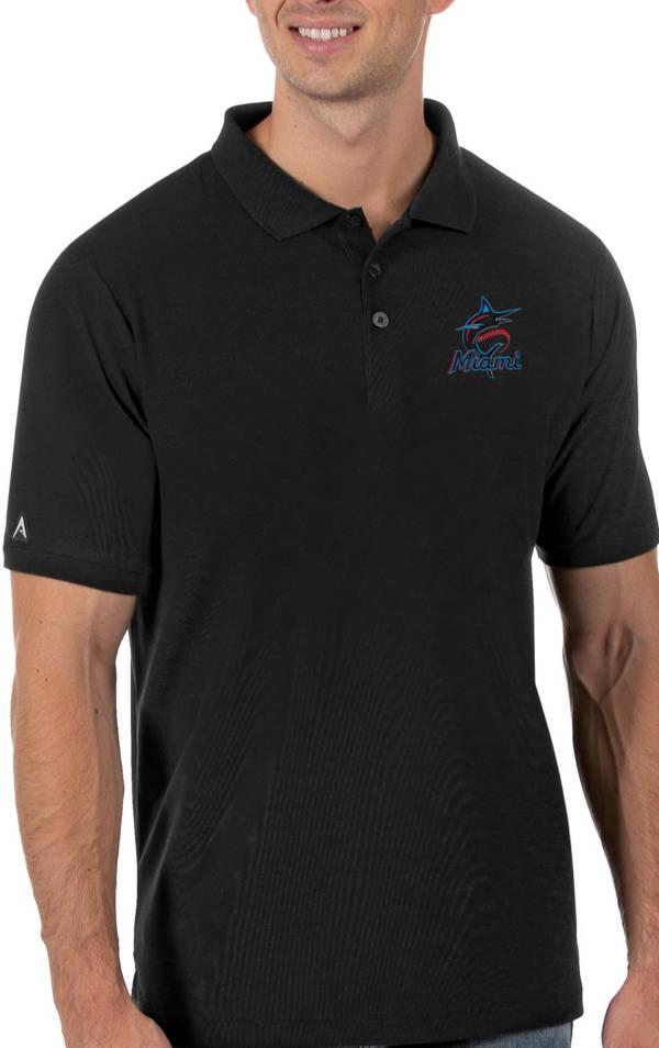 Antigua Men's Miami Marlins Black Legacy Polo product image