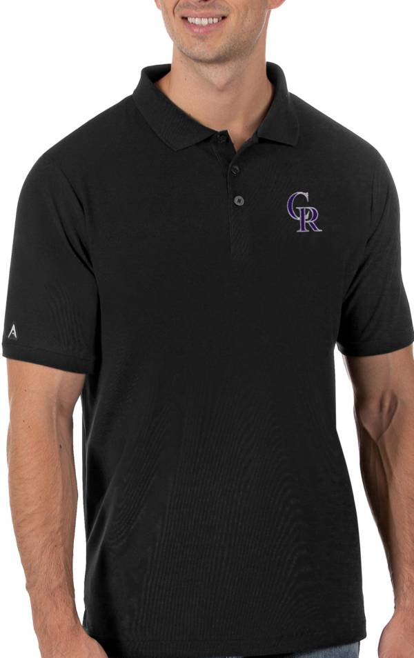 Antigua Men's Colorado Rockies Black Legacy Polo product image