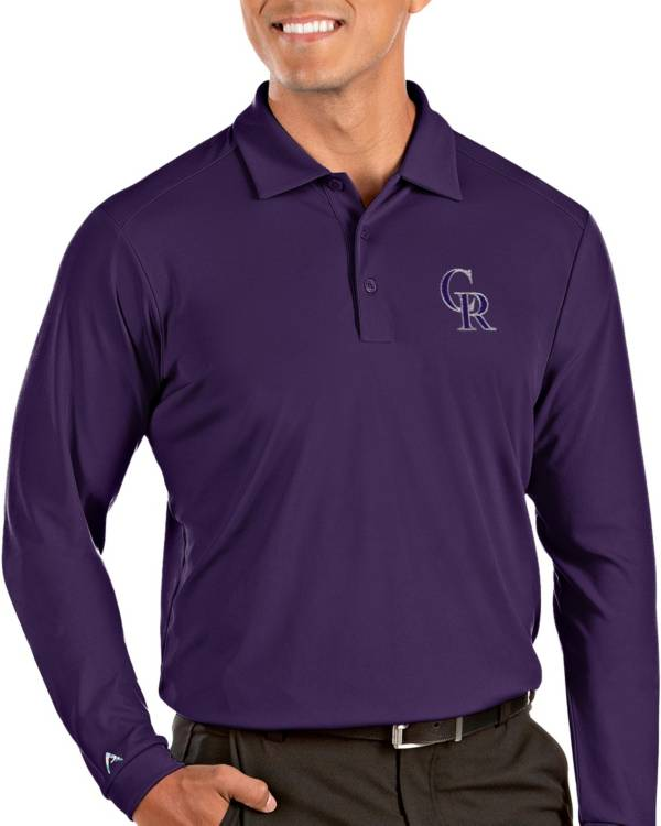 Antigua Men's Colorado Rockies Purple Tribute Long Sleeve Performance Polo product image