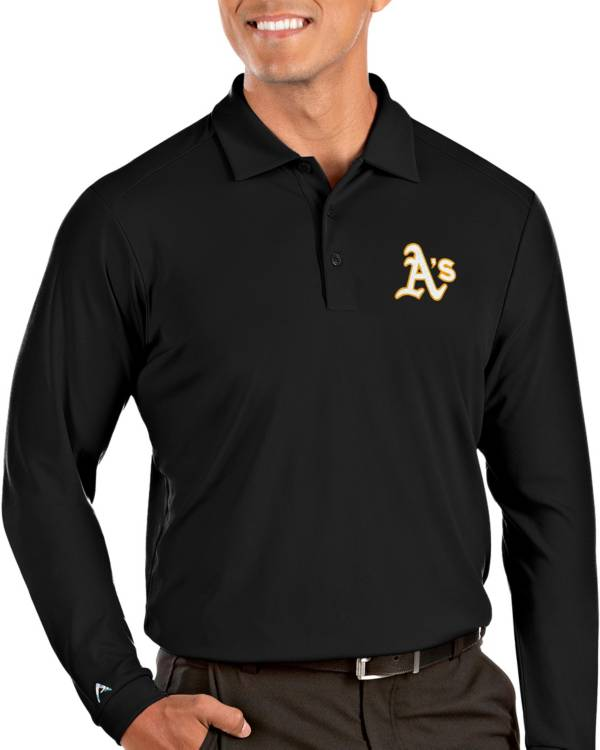 Antigua Men's Oakland Athletics Tribute Long Sleeve Performance Black Polo product image