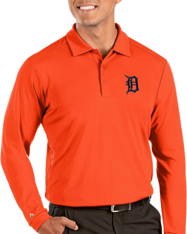 Antigua Men's Detroit Tigers Orange Tribute Long Sleeve Performance Polo product image