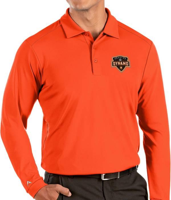 Antigua Men's Houston Dynamo Orange Tribute Long Sleeve Performance Polo product image