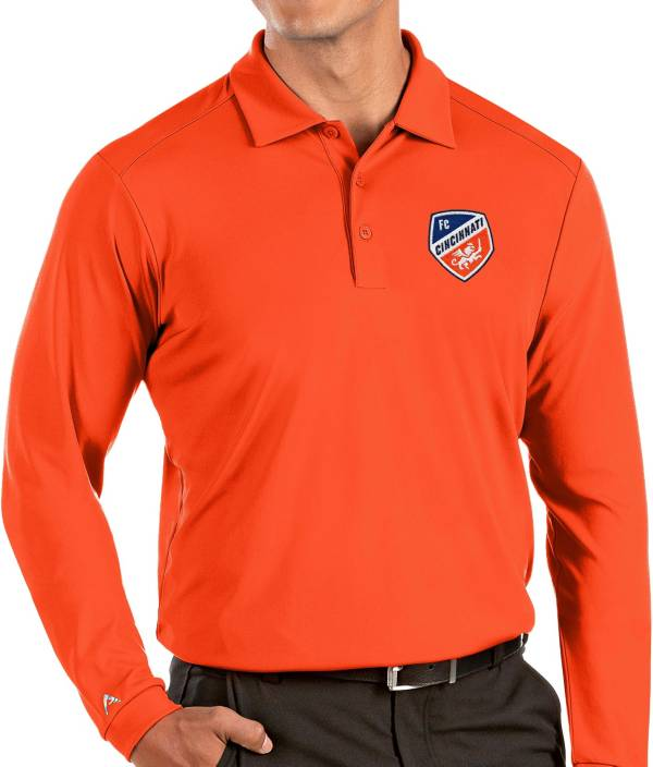 Antigua Men's FC Cincinnati Orange Tribute Long Sleeve Performance Polo product image