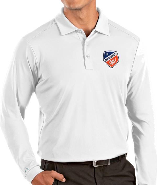 Antigua Men's FC Cincinnati White Tribute Long Sleeve Performance Polo product image