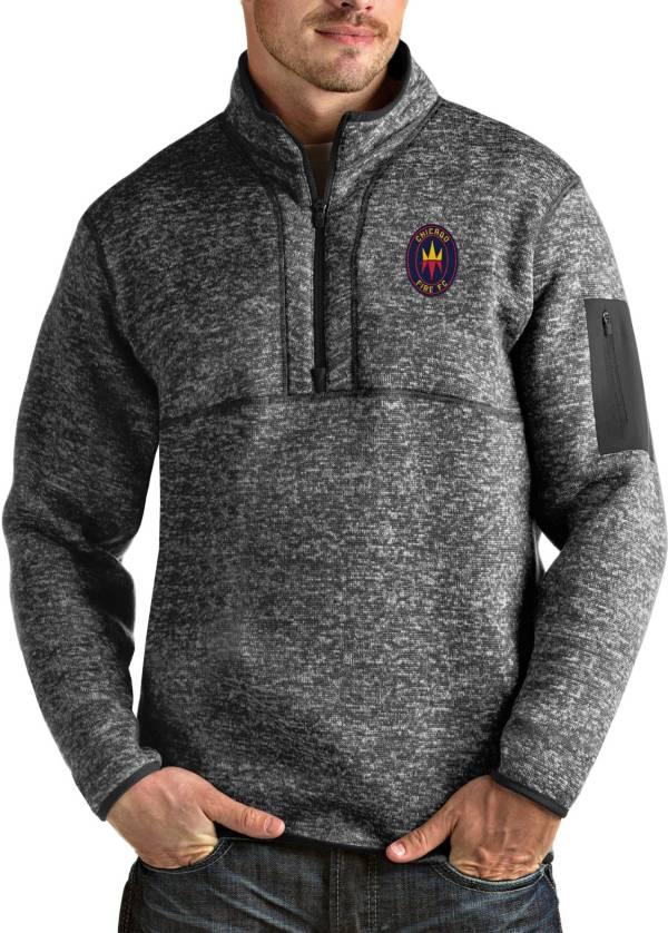Antigua Men's Chicago Fire Grey Fortune Quarter-Zip Pullover product image