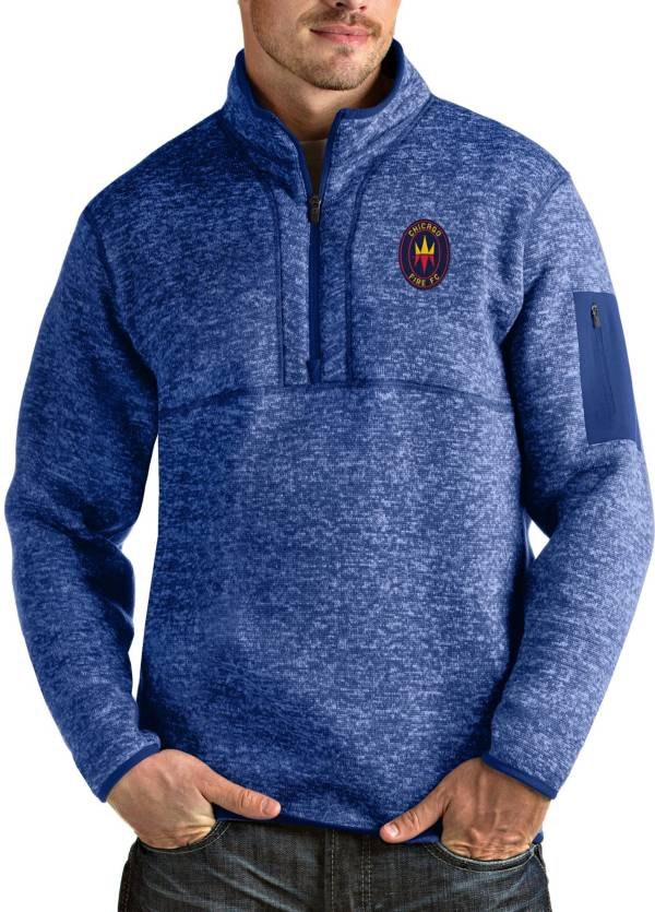 Antigua Men's Chicago Fire Navy Fortune Quarter-Zip Pullover product image