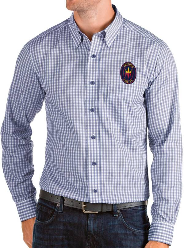 Antigua Men's Chicago Fire Navy Structure Button Down Long Sleeve Shirt product image
