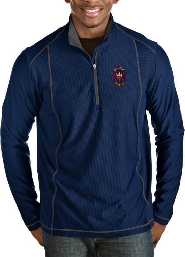 Antigua Men's Chicago Fire Navy Tempo Quarter-Zip Pullover product image